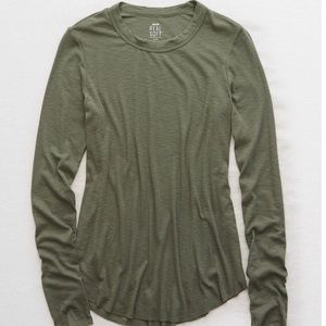 NEW Aerie Real Soft Ribbed Long Sleeve Shirt